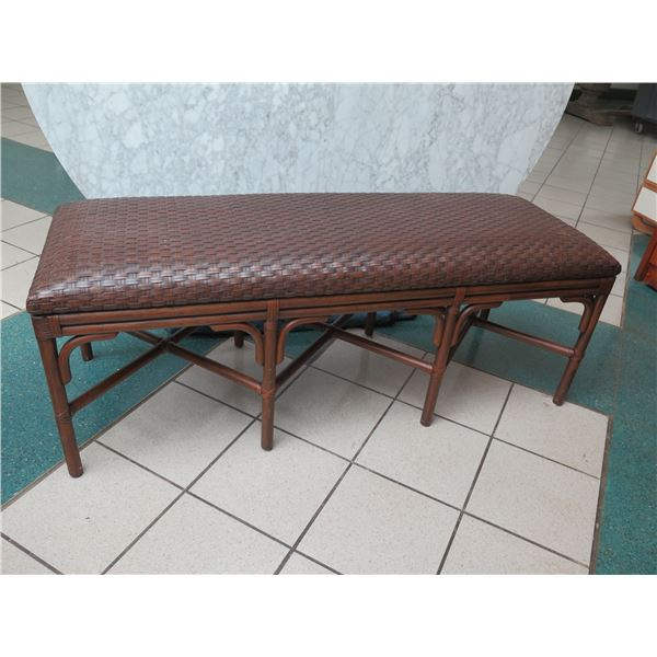 """Rattan Pacifica Bench w/ Woven Top 57""""x20""""x21""""H"""