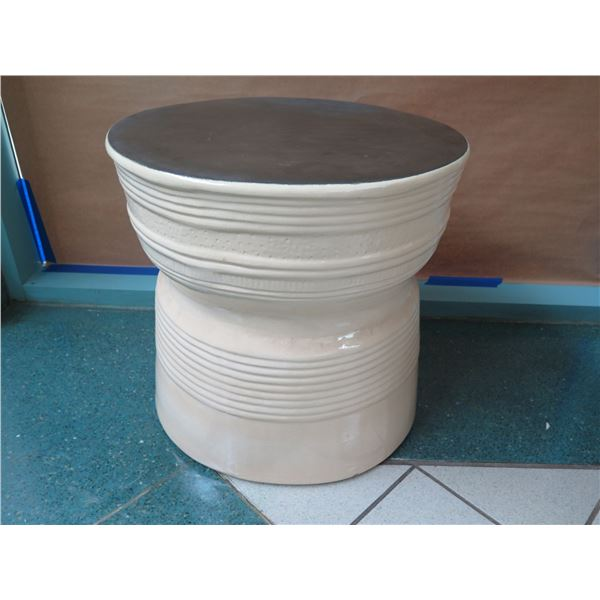 """Tall Round Ceramic Side Table 25"""" Dia x 24""""H"""