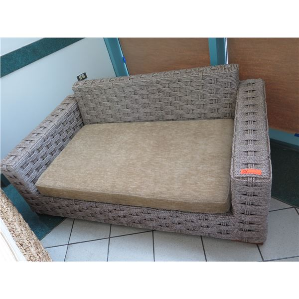Synthetic Woven Rope Lounger w/ Tan Seat Cushion