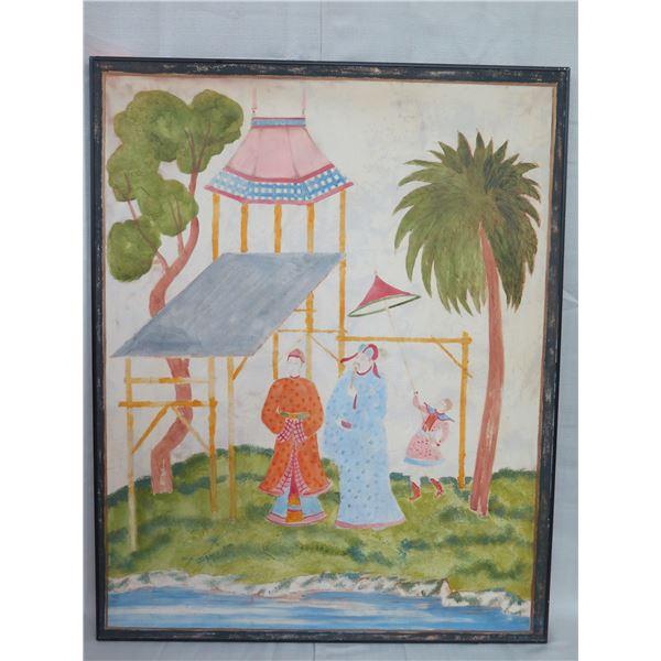 "Large Framed Canvas Art, Reproduction, Coated Aluminum Frame 40"" x 50"""