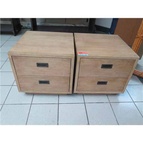 """Qty 2 Wooden Nightstands w/ 2 Drawers 24"""" x 25"""" x 23"""" H"""