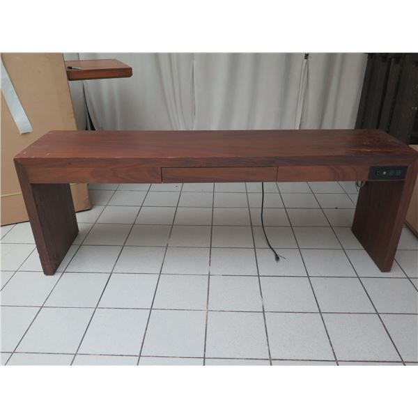 """Wooden Console Table w/ Drawer & Outlet 84""""x20""""x30""""H (damage, wear & tear)"""