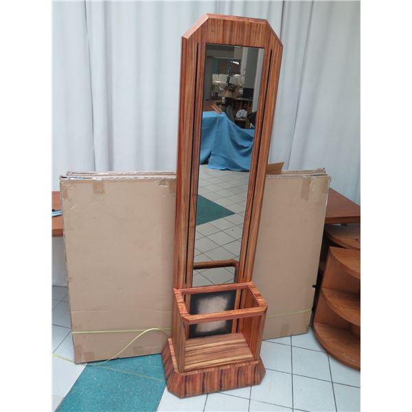 Tall Wood-Framed Mirror w/ Vertical Slatwall Shelf Bracket Rails 8ft X 2ft