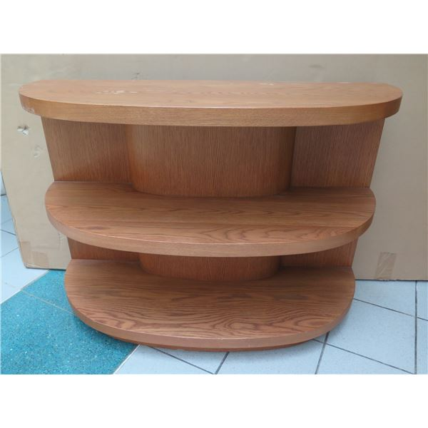 """Curved Wooden 3-Tier Shelving Unit 48"""" x 19"""" x 34""""H (some surface scratches, wear/tear)"""
