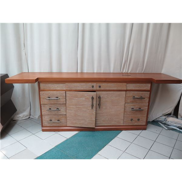 """Large 2-Piece Solid Wood Entertainment Center w/ Cabinet & 6 Drawers 120""""x30""""x43""""H"""