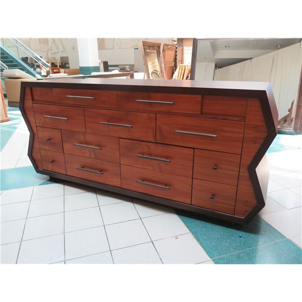 """Very Large Geometric Wooden Entertainment Center w/ 13 Drawers 96""""x28""""x42""""H"""
