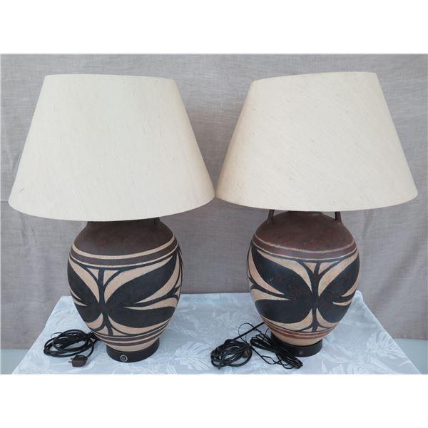 "Qty 2 Ceramic Hawaiian-Motif Table Lamps w/ Shades, 22""H"