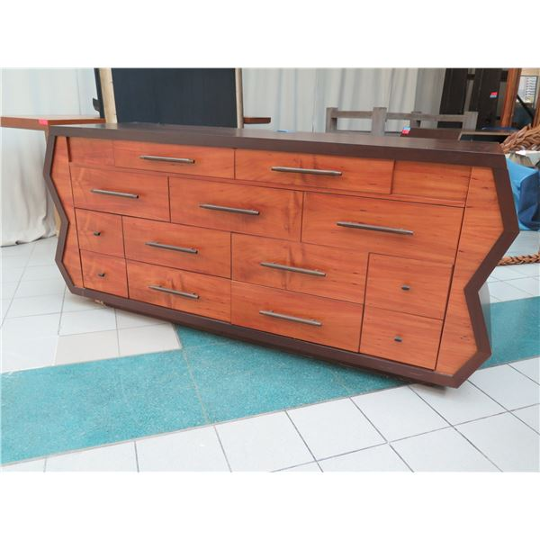 "Very Large Geometric Wooden Entertainment Center w/ 13 Drawers 96"" x 28"" x 42""H"