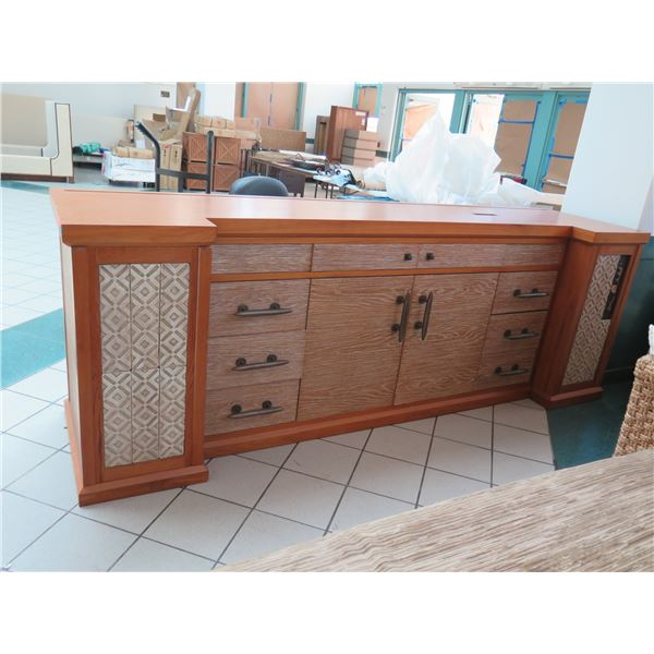 "Large 4-Piece Solid Wood Entertainment Center w/ Cabinet & 6 Drawers 120""x30""x43""H"