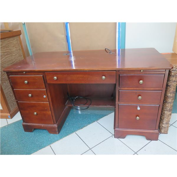 "Wooden Desk w/ 7 Drawers (has surface wear/scratches), Locked Drawers 25""X19""X31""H"
