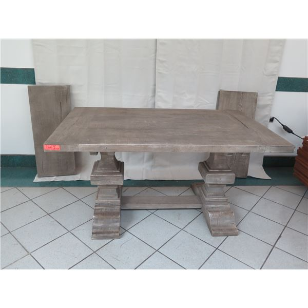 "Distressed Wooden Table w/ 2 Leaf Extenders 60"" x 29"" x 31""H"
