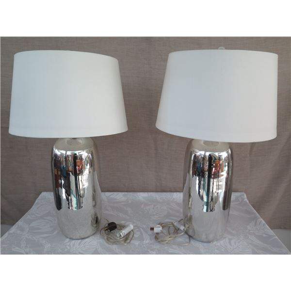 "Qty 2 Ceramic Mirrored Lamps w/ White Shades (approx. 30""H w/ shades)"