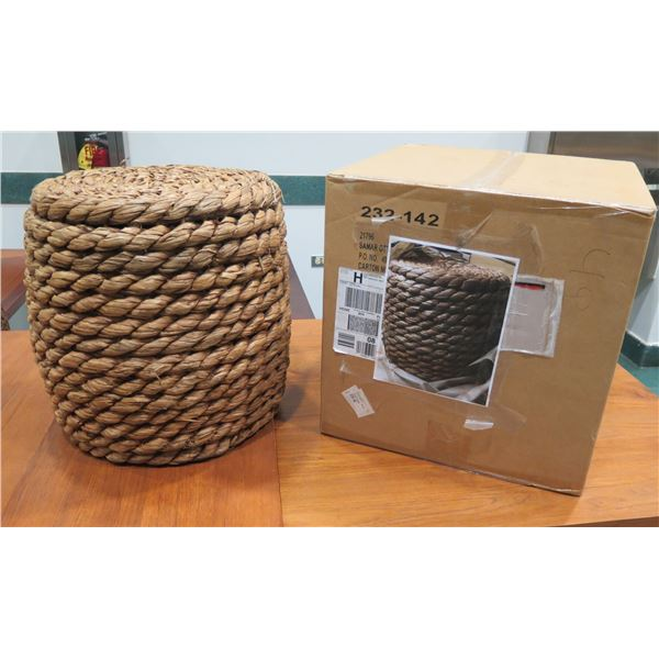 "New Crate & Barrel Samar Ottoman Side Table, Thick Woven Design (17"" Dia, 19""H)"