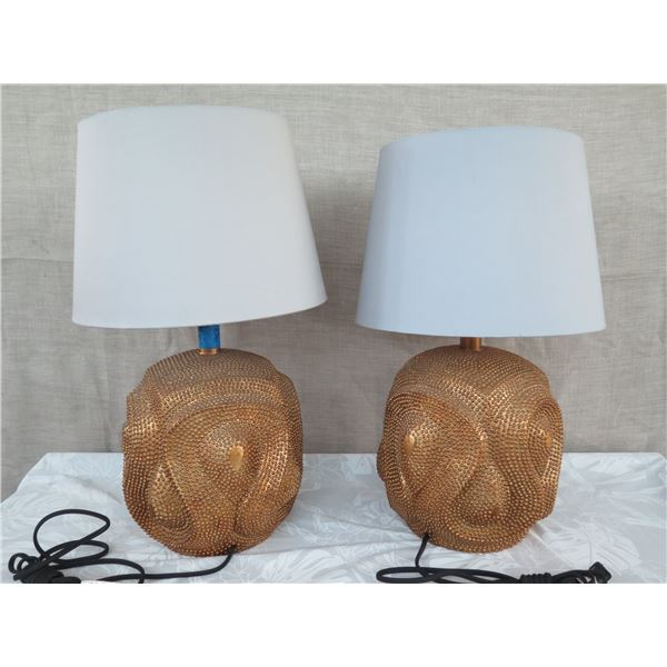 "Qty 2 Textured Copper-Tone Lamps w/ Shades (Uneven Height, Approx. 26""/27"")"