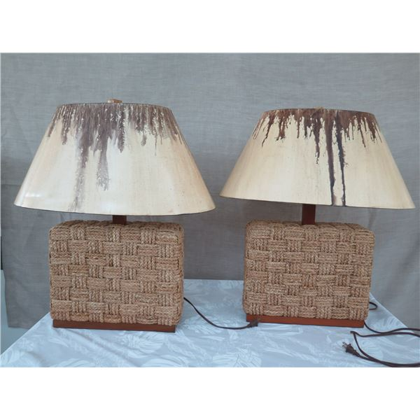 "Woven Synthetic Rope Block Lamps w/ Shades (approx. 30""H w/ shades)"