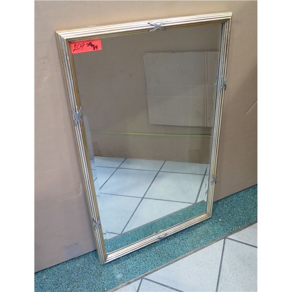 "Gold-Tone Mirror with Metallic Accents 38"" x 34"""