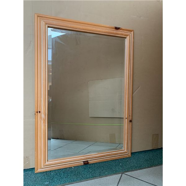 "Solid Natural Pine Wood Mirror 30"" x 43"""