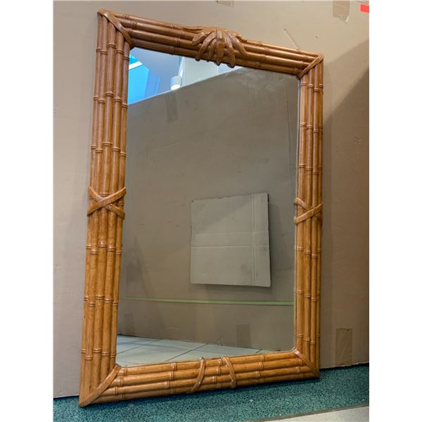 "Large Rattan-Look Mirror 31.5"" X 48"" (not real wood)"