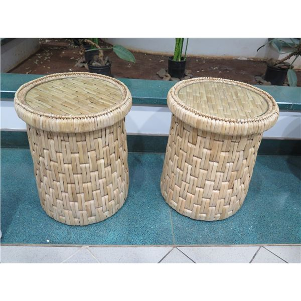 "Round Woven Side Tables with Glass Top, Natural Materials 20""Dia, 25""H"