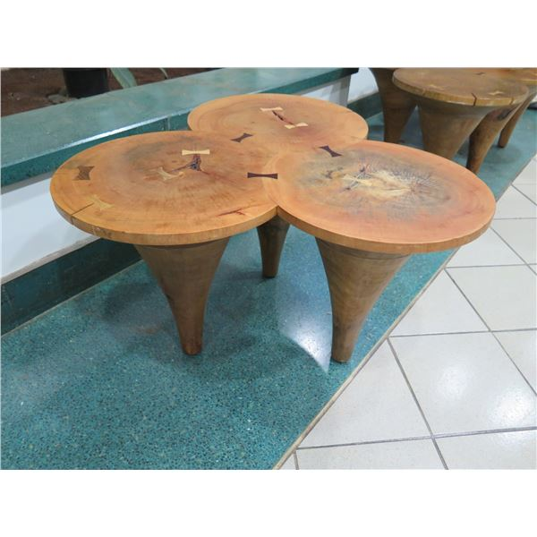 "Wooden Tri-Table, Fusion of 3 Round Tables 33""x18""x19""H"