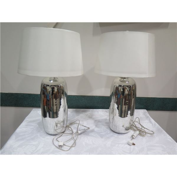 "Qty 2 Ceramic Mirrored Lamps w/ White Lampshades, Approx. 30"" H"