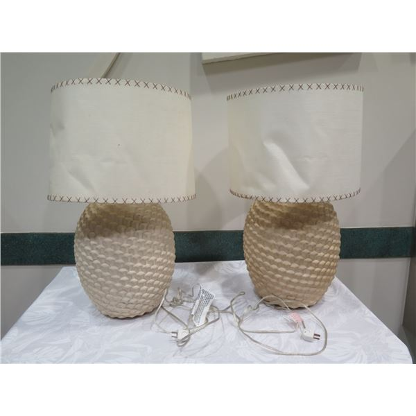 "Qty 2 Textured Ceramic Lamps w/ Lampshades (lamshades are warped) Approx. 30"" H"