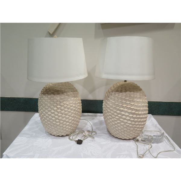"Qty 2 Textured Ceramic Lamps w/ Lampshades, Approx. 29"" H"