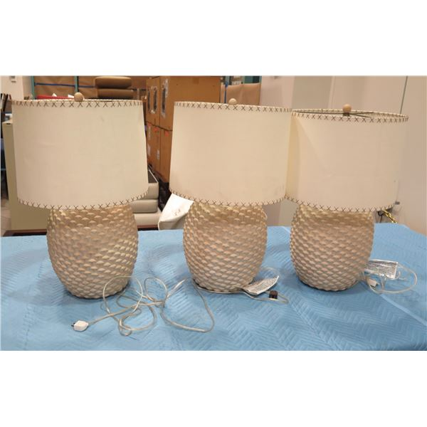 "Qty 3 Textured Ceramic Lamps w/ Lampshades, Approx. 29"" H (some fingerprints on shades)"