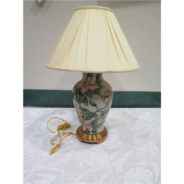 "Porcelain 'Ginger Jar' Lamp w/ Floral Motif 31""H, Artist Minehiko, Lampshade Doesn't Fit (see 4th pi"