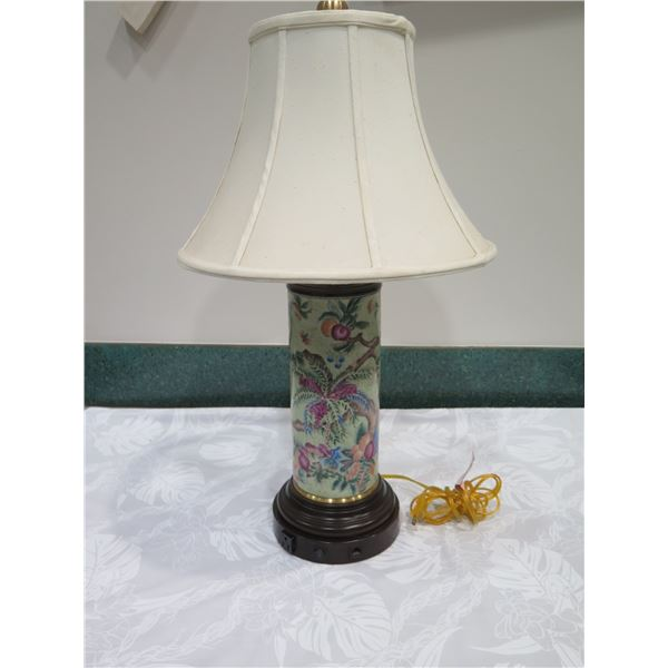 "Tall Glazed Porcelain Cylinder Lamp w/ Shade (approx. 31""H w/ shade)"