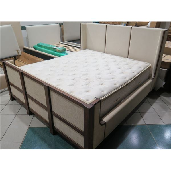 Wooden King Bed w/ Upholstered Headboard, Footboard & Sides, Includes Mattress  (footboard measures