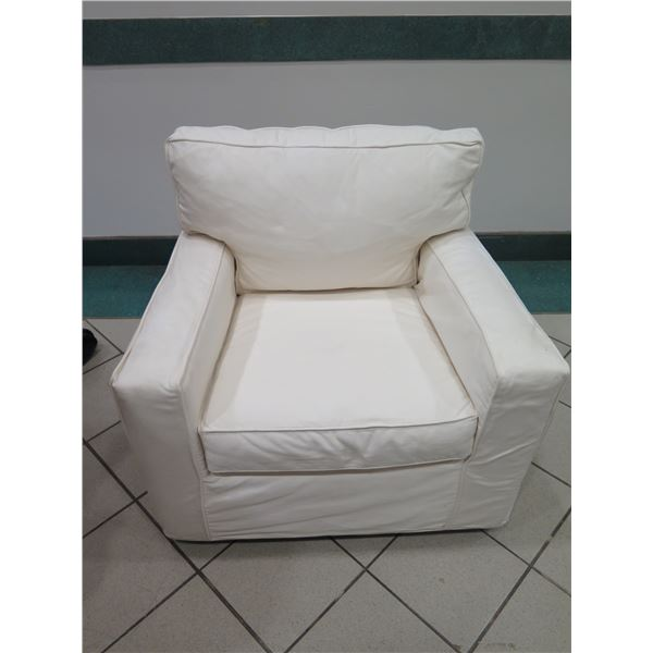 "Slipcovered Armchair, Missing 1 Screw-On Leg (Removable Zippered Slipcover) 36"" X 36"""