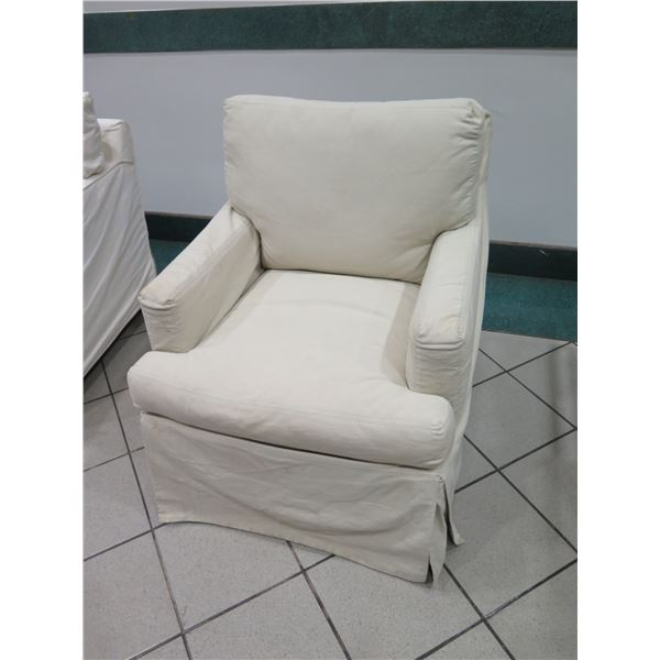 "Small-Scale Upholstered Rocking Armchair, Cream, 30"" x 23"" x 31""Back Ht."