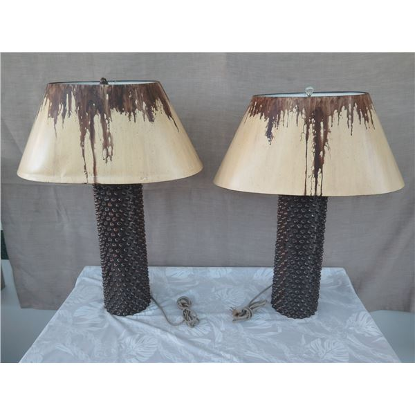 Qty 2 Tall Textured Brown Glazed Ceramic Lamps w/ Shades