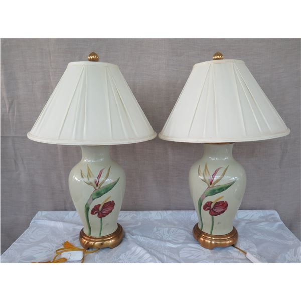 "Qty 2 Porcelain Ginger Jar Lamps w/ Shades, Tropical Flowers, Artist Pamela Shirley (approx. 31""H w/"