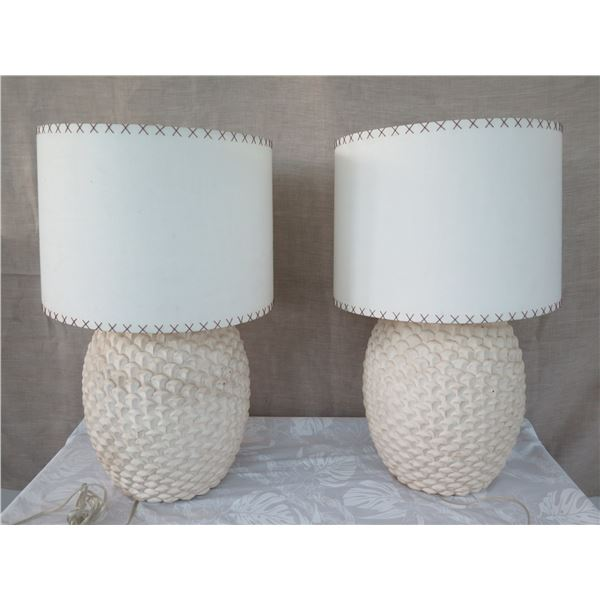 "Qty 2 Ceramic Lamps w/ Shades (approx. 30""H w/ shades)"