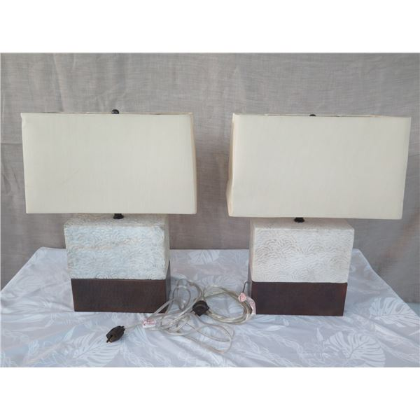 "Qty 2 Short Solid Stone Block Lamps w/ Shades (approx. 16""H w/ shades)"