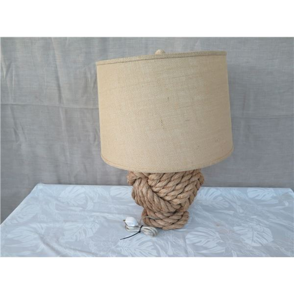 "Short Knotted Rope Lamp w/ Shade (approx. 16""H w/ shades)"