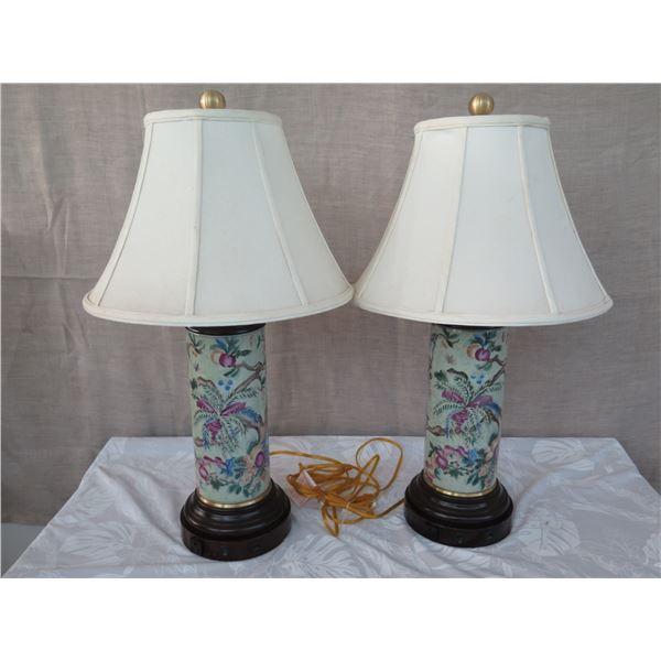 "Qty 2 Tall Glazed Porcelain Cylinder Lamp w/ Shades (approx. 30""H w/ shades)"