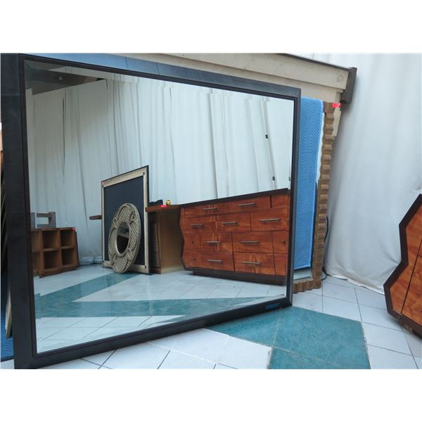 "Very Large Wood-Framed Wall Mirror, Roma 2012, Made in Italy 80"" X 69"""