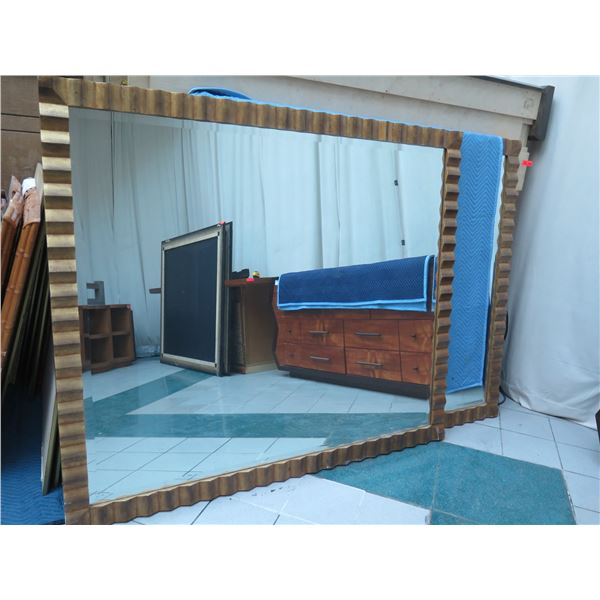 "Very Large Wood-Framed Ridged Wall Mirror 77"" X 66"""