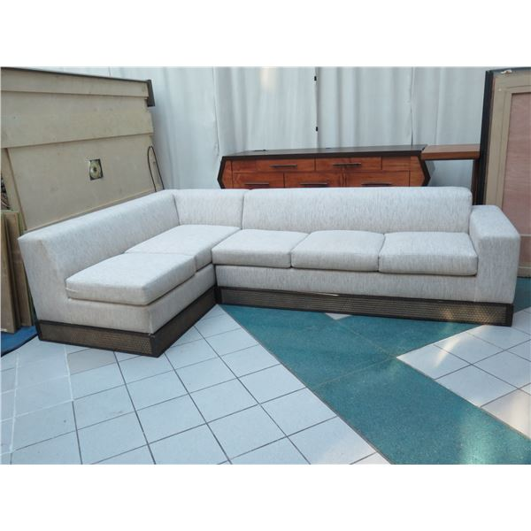2-Piece Sectional Sofa Sleeper w/ Pull-Out Bed  on Etched Wooden Base (extra base). Includes Extra w
