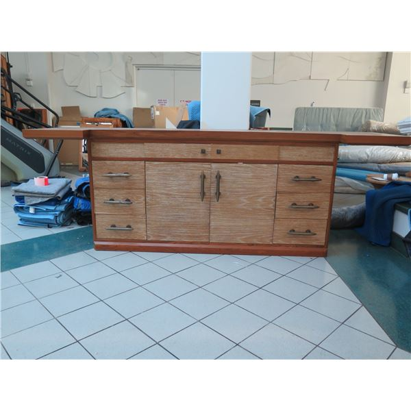 "Large 2-Piece Solid Wood Entertainment Center w/ Cabinet & 6 Drawers 120""x30""x43""H"