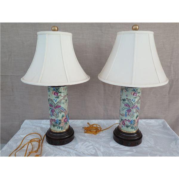 "Qty 2 Tall Glazed Porcelain Cylinder Lamp w/ Shades (approx. 33""H w/ shades)"