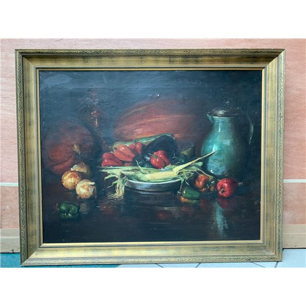 Very Large 52X42 Oil Painting on Canvas - Still Life Red Bell Peppers (small damaged areas)