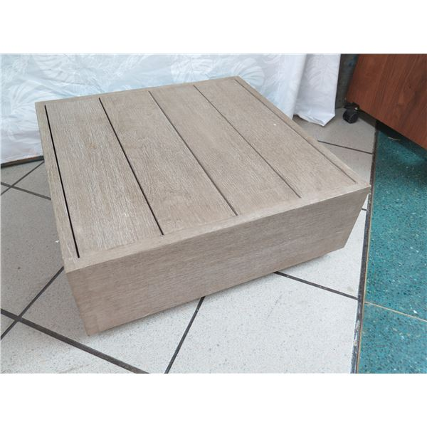 """Low Wooden Ottoman, Distressed Finish, No Cushion 22""""x22""""x8.5""""H"""