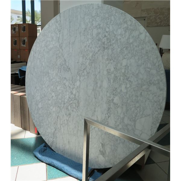 "Very Large Marble-Like Tabletop w/ Metal Base, 73"" Dia, 2"" Thick (material is not natural stone but"
