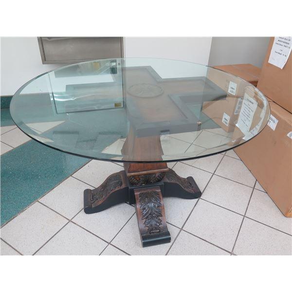 "Glass Tabletop w/ Carved Wooden Pedestal Base, 48"" X 31"", Hooker Preston Ridge"