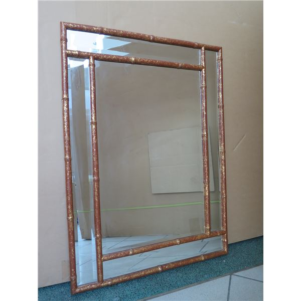 "Geometric Rattan-Look Mirror 42"" X 30"""
