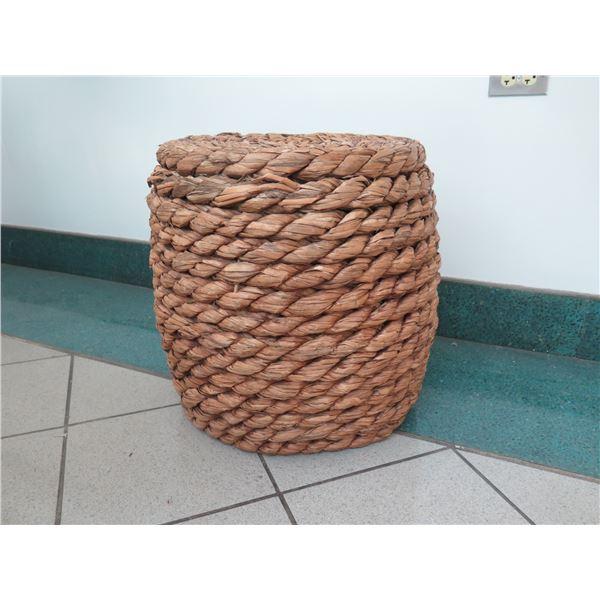 "Crate & Barrel Samar Ottoman Side Table w/Thick Woven Design 17"" Dia, 19""H"